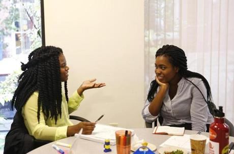 Students Markiesha Duverneau and Gabrielle Greaves discussed the pros and cons of their particular leadership styles.